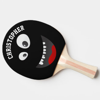 Funny Black Scary Face Novelty Personalized Name Ping Pong Paddle