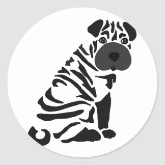 Funny Black Shar Pei Dog Abstract Art Classic Round Sticker