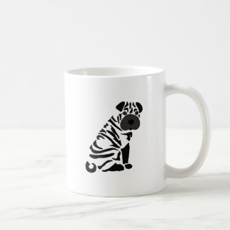 Funny Black Shar Pei Dog Abstract Art Coffee Mug