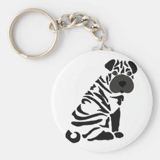 Funny Black Shar Pei Dog Abstract Art Keychain