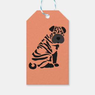 Funny Black Shar Pei Dog Abstract Art Pack Of Gift Tags