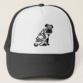 Funny Black Shar Pei Dog Abstract Art Trucker Hat