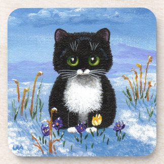 Funny Black Tuxedo Cat Winter Snow Creationarts Coaster