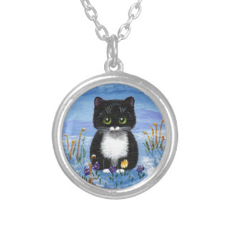Funny Black Tuxedo Cat Winter Snow Creationarts Silver Plated Necklace