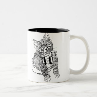 Funny Black & White Cat in Headphones illustration Two-Tone Coffee Mug
