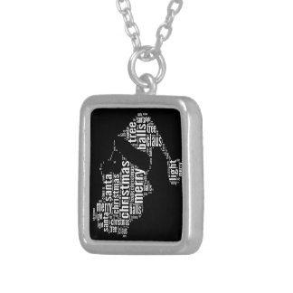 Funny Black White Merry Christmas Santa Typography Silver Plated Necklace