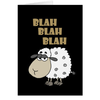 Funny Blah Blah Blah Sheep Happy Birthday Card