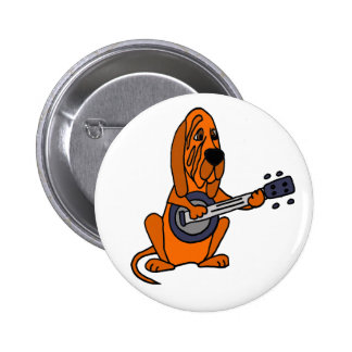 Funny Bloodhound Playing Banjo 2 Inch Round Button