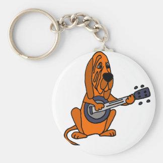 Funny Bloodhound Playing Banjo Basic Round Button Keychain