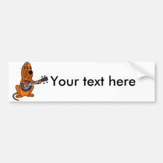 Funny Bloodhound Playing Banjo Bumper Sticker
