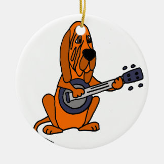 Funny Bloodhound Playing Banjo Round Ceramic Ornament