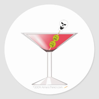 Funny Bloody Martini with Skull Halloween Classic Round Sticker