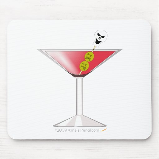 Funny Bloody Martini with Skull Halloween Mouse Pad