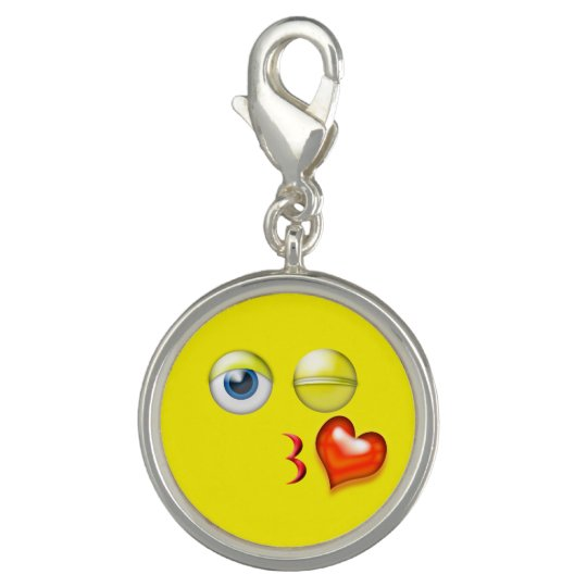 Funny Blow A Kiss Emoji Smiley Charm