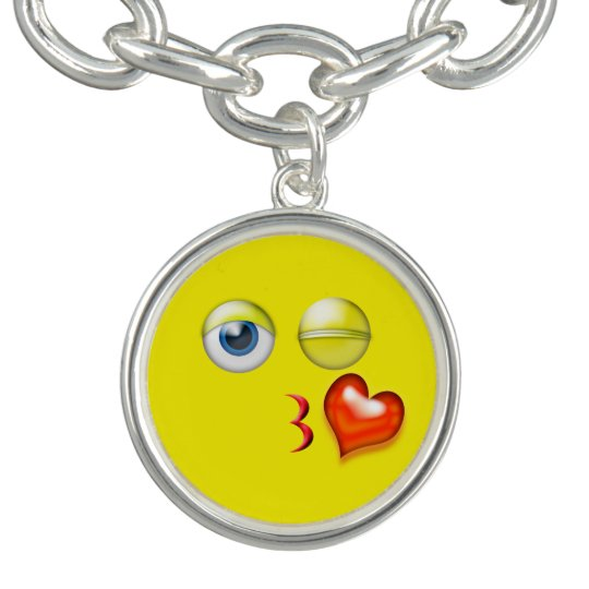 Funny Blow A Kiss Emoji Smiley Charm Bracelet