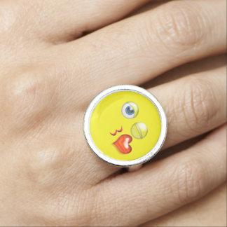 Funny Blow A  Kiss Emoji Smiley Ring