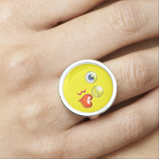 Funny Blow A  Kiss Emoji Smiley Rings