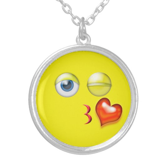 Funny Blow A  Kiss Emoji Smiley Silver Plated Necklace