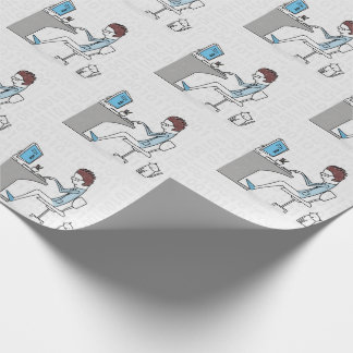Funny Blue and Gray Computer Nerd with Cat Wrapping Paper