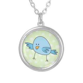 Funny blue bird kids animal cartoon silver plated necklace