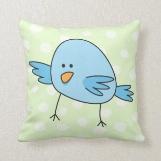 Funny blue bird kids animal cartoon throw pillow