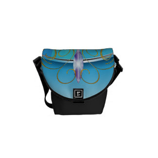 Funny blue cartoon dragon courier bags