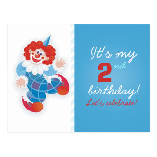 funny blue clown birthday invitation postcard
