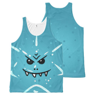 Funny Blue Face with Sneaky Smile All-Over-Print Tank Top