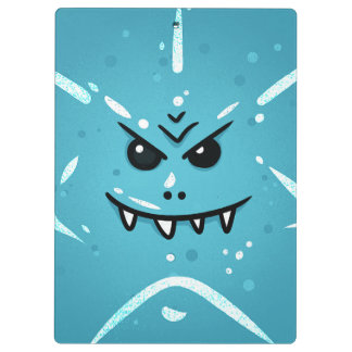 Funny Blue Face with Sneaky Smile Clipboard