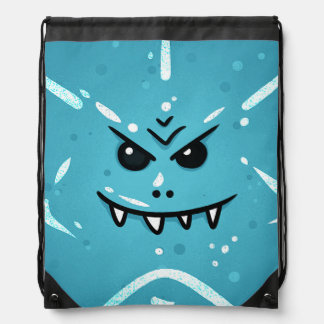 Funny Blue Face with Sneaky Smile Drawstring Bag