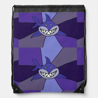 Funny Blue Grinning Shark Drawstring Bag