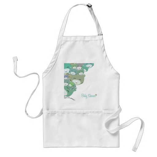 Funny blue infantile kittens, baby to shower aprons