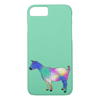 Funny Blue Multicoloured Goat Animal Art Design iPhone 8/7 Case