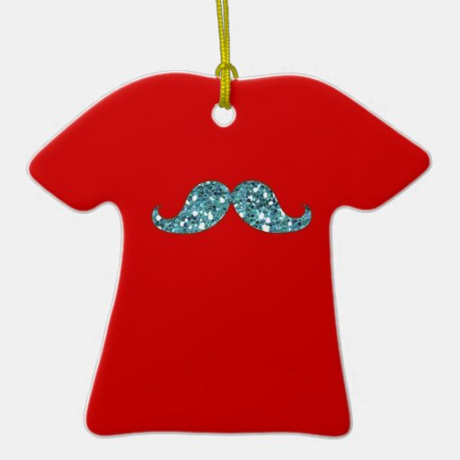 FUNNY BLUE MUSTACHE GLITTER CHRISTMAS TREE ORNAMENTS