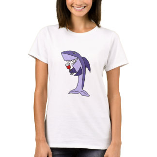 Funny Blue Shark Drinking Glass of Red Wine T-Shirt