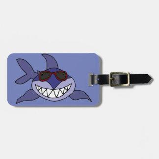 Funny Blue Shark with Sunglasses Bag Tag