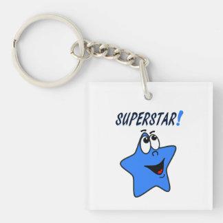 Funny Blue Star Cartoon Keychain