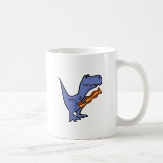Funny Blue T-rex Dinosaur Eating Bacon Art Coffee Mug