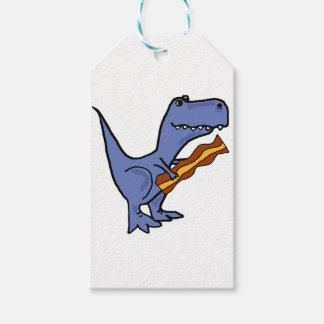 Funny Blue T-rex Dinosaur Eating Bacon Art Gift Tags