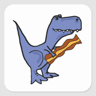 Funny Blue T-rex Dinosaur Eating Bacon Art Square Sticker