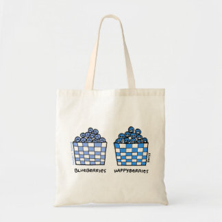 Funny Blueberries Cartoon Grocery Tote Budget Tote Bag