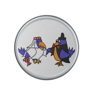 Funny Bluebirds Wedding Bride and Groom Art Bluetooth Speaker