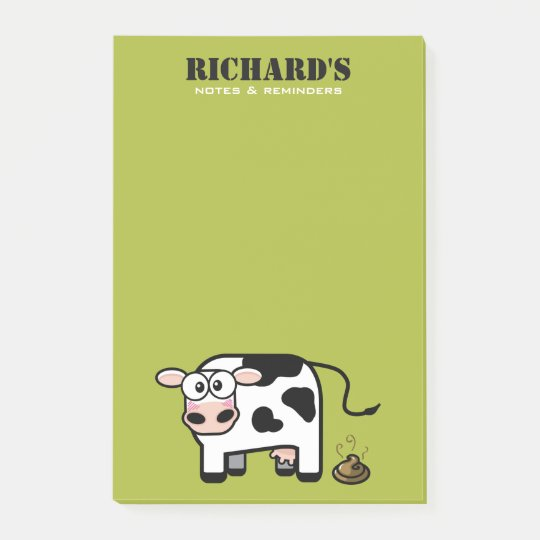 Funny Blushing Pooping Cow Illustration Post-it Notes