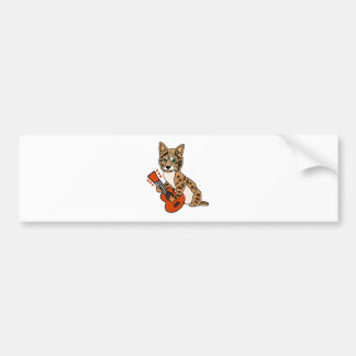 Funny Bobcat Playing Guitar Art Bumper Sticker