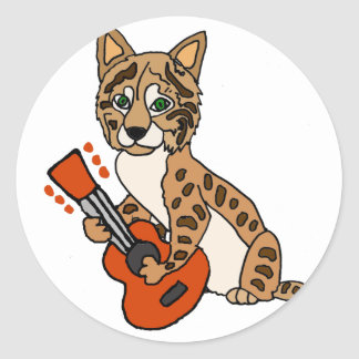 Funny Bobcat Playing Guitar Art Classic Round Sticker