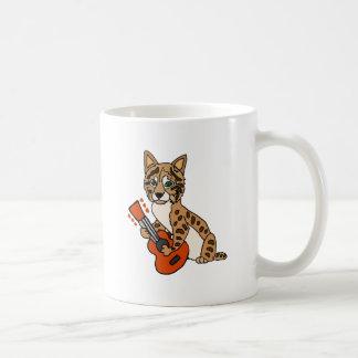 Funny Bobcat Playing Guitar Art Coffee Mug