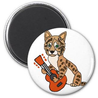 Funny Bobcat Playing Guitar Art Magnet