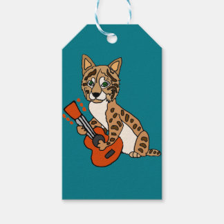 Funny Bobcat Playing Guitar Art Pack Of Gift Tags