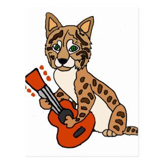 Funny Bobcat Playing Guitar Art Postcard