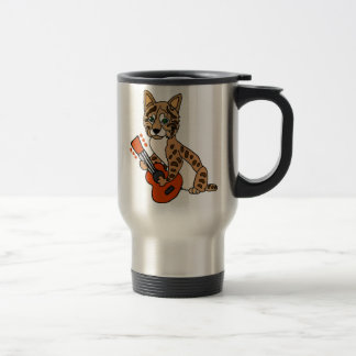 Funny Bobcat Playing Guitar Art Travel Mug